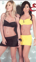 Black and yellow mini skirts and tops.