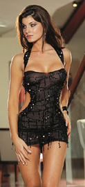 Black Mini Dress with Sequins