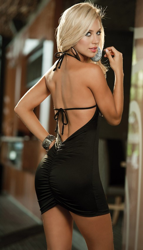 View of mini dress showing scrunch back.