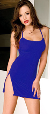 Royal Blue Mini Dress with Side Slits