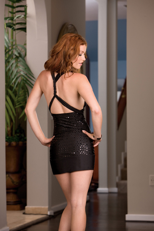 Back view of black dress.