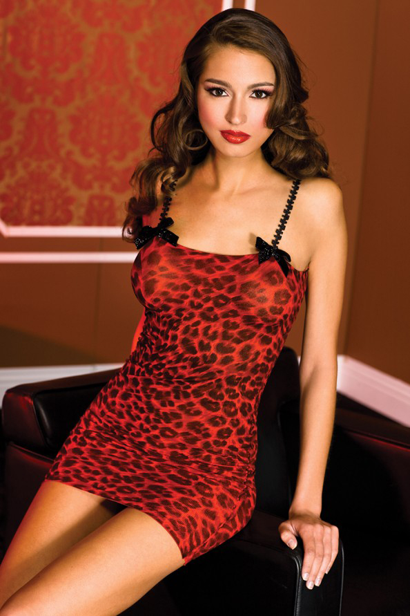 Red and black leopard print mini dress