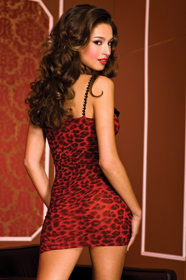 Back view of animal print mini dress.