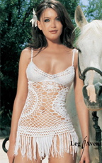 White Crocheted Mini Dress