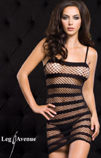Striped Fishnet Mini Skirt Dress