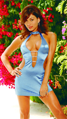 Blue Lycra Satin Mini Dress
