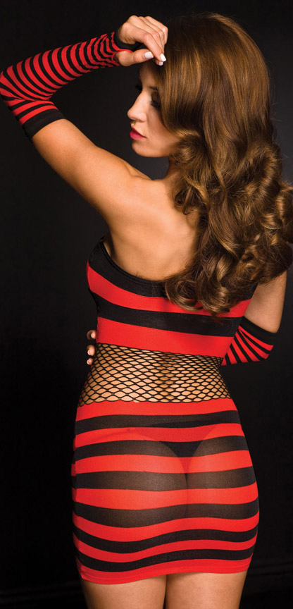 Back view of striped mini dress.