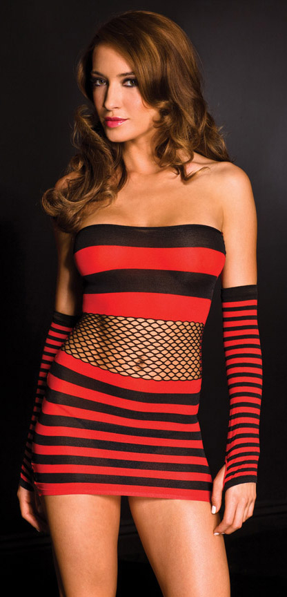 Black and red mini dress with net midriff.