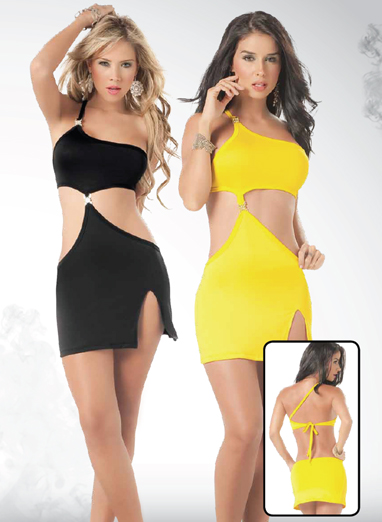 Black and yellow dress with side cut out.