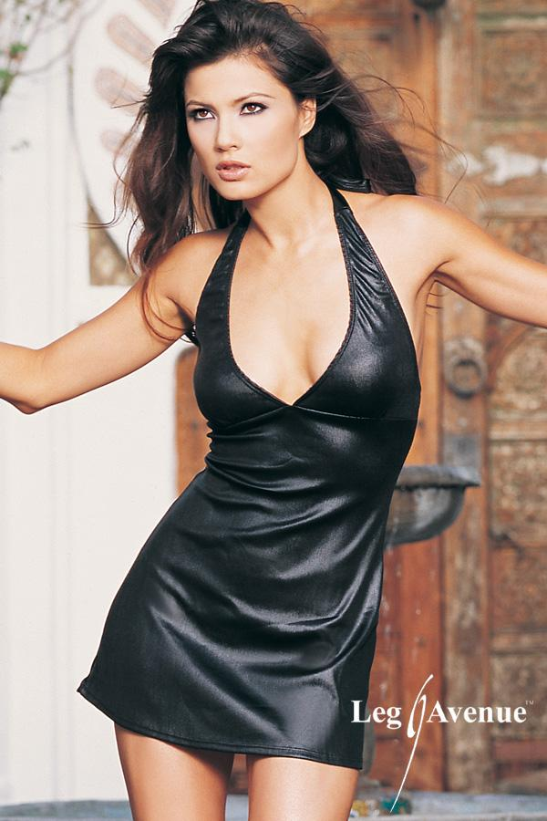 Black halter mini dress with wet look.