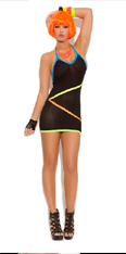 Black and Neon Strapped Mini Dress