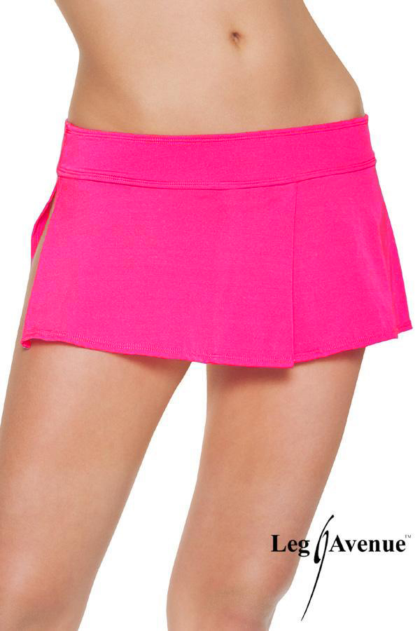 Neon pink mini skirt with side slit.