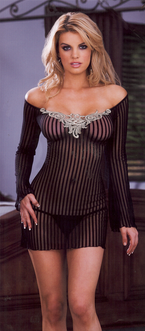 black and Gold Pinstripe Lingerie item 6241.