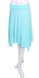 Aqua striped skirt.