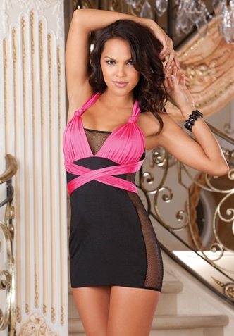 Pink and black halter dress.